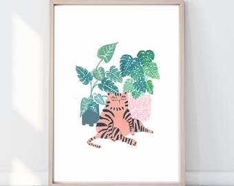 Colourful Plant Kitty, Crazy Plant Lady, Crazy Cat Lady Gift, Monstera Leaf print Botanical Illustration, Cat lover gift