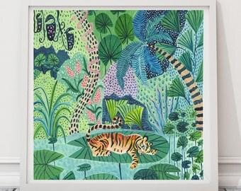 Impresión del tigre, tigre ilustración ilustración de selva, selva imprimir, plantas de impresión, decoración para niños, arte de pared de cuarto de niños, Animal print