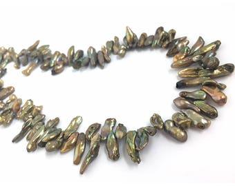 50 Keishi Pearl Brown Iris, Freshwater Pearl, Raw Pearl, Natural Pearl, Long Irregular Pearl, Loose Pearl, Jewelry Making Pearl