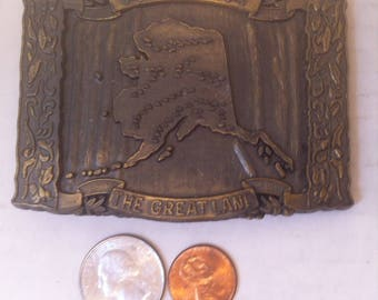 Vintage Metal Brass Belt Buckle, Made in USA, Alaska, States, Cowboy, Rodeo, Country & Western, Nature