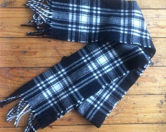 Black and White Wool Plaid Scarf Check