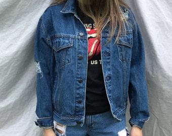 Vintage Distressed Blue Hard Rock Denim Jacket  (M)
