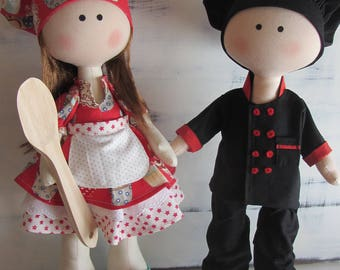 Cook doll, fabric doll, textile doll, cloth doll, tilda doll, tilda, handmade doll, personalized doll, christmas present, decor for home