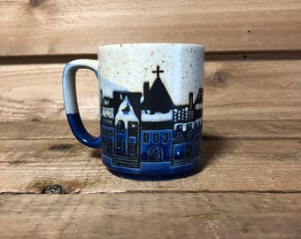 Vintage Blue and Beige Mug Japan Cuty Scene Church Speckeled