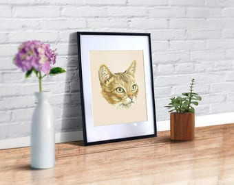 Abyssinian cat cross stitch pattern, red cat modern cross stitch, instant download PDF, green eyes cat easy to read pattern. BOGO free!