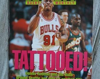 Dennis Rodman - Vintage magazine - Vintage Chicago Bulls - Dennis Rodman gift - Chicago Bulls gift - Tattoo decor - Vintage NBA - Tattooed