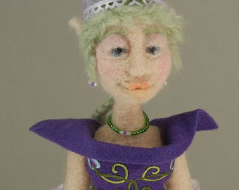 Needle Felted Art Doll, Purple Fairy Figure