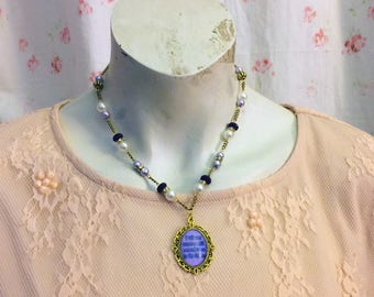 Violet and Gold Sapphic Poem Fragment Necklace
