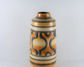 Vintage Ceramic East Germany Haldensleben 1970's LAVA Vase VEB 3045 IB Pottery 23 x 8 cm
