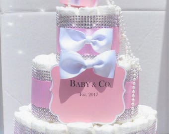Pink Bling Diaper Cake Baby U0026 Co. Personalized White Bows Pearls Diamond  Bling 60 Diapers