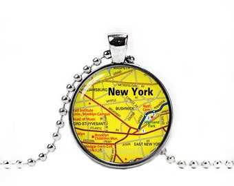 New York Necklace New York Map Pendant New York City Map Necklace City Maps New York Jewelry