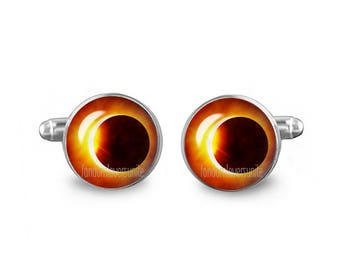 Eclipse of the Sun Cufflinks  Solar Eclipse Cuff Links 16mm Game of Thrones Gift for Men Groomsmen Novelty Cuff links