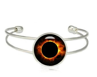 Solar Eclipse Cuff Bangle Sun Eclipse Bracelet Total Eclipse Cuff Bracelet Solar Eclipse Jewelry August 2017