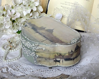 Wooden Jewelry box, jewellery box, Decoupage box, Venice,  wood box,  vintage box, gift for her, unique gifts