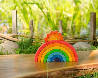 AFTER Christmas! Waldorf RAINBOW Stacker // Puzzle // Wooden toys // for Toddlers // Waldorf Toy // Arcoiris // Arcobaleno
