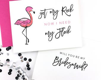 Will You Be My Bridesmaid Card, Maid of Honor Card, Flamingo Card, Flower Girl Card, Bridesmaid Gift - (FPS0007)