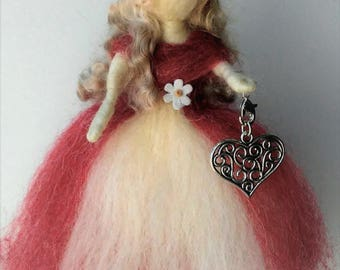 Valentine Heart Wool Fairy with Removable Silver Pendant (red)