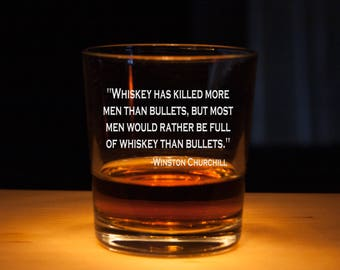 Winston Churchill Quote, Rocks Glasses, Engraved glass, Personalized whiskey glass, Whiskey lover gift, Churchill quotes, great quotes