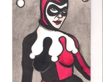 "Harley Quinn, the Joker's Lady Friend! 4"" x 6"" ink drawing! Framed!"