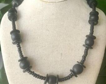 Vintage Boho Black Wood Bead Necklace