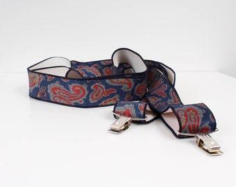 Vintage Rubber Braces Blue Red Ornamented Mens Adjustable Suspenders Hippie Braces