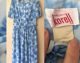 Vintage 1950s Korell Blue Floral Rockabilly Pin Up dress size Large // X-Large