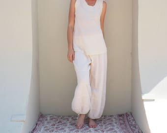Cotton Natural Yoga Pants in CREAM // Flexible Waistband, Natural Fiber Gauze // Whole body breathes!