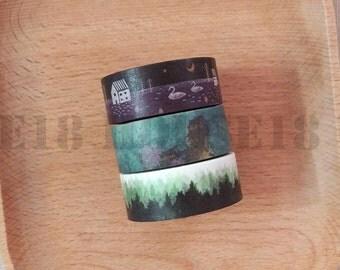 Dark Collection Washi Tape Masking Tape Set of 3 Rolls
