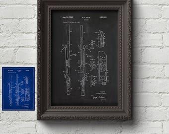 Bassoon 1965 Patent Print - Musical Instrument, Classical Music, Music Gift, Art Print, Wall Art, Art, Cute Gift