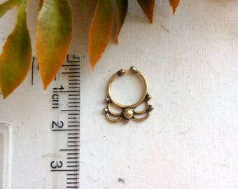 Fake Septum Ring, brass  Septum ring, fake septum, Septum Cuff, Tragus, Helix, Cartilage Earring Brass. Brass septum ring. Real septum ring.