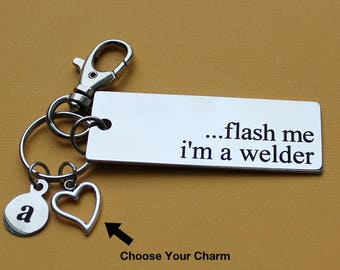 Personalized Welder Key Chain Flash Me I'm A Welder Stainless Steel Customized with Your Charm & Initial - K583
