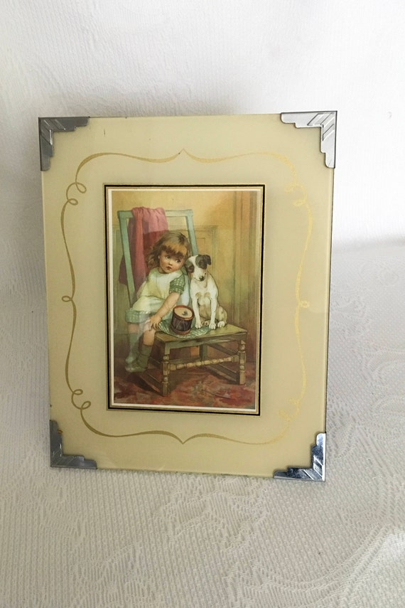 Vintage Photo Frame Glass Photo Frame 1940 Photo Frame