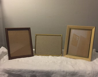 Antique Picture Frames - THREE Old Frames - Solid, Hefty, Frames with Glass - 9x11 - 8x10 - 12x10