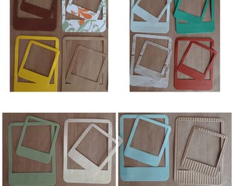 Picture frames / photo frames - patterned paper - various colors and papers - set of 24 / set of 24