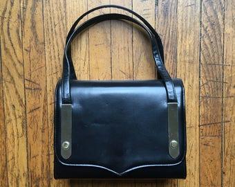 Gorgeous Black Leather BLOCK Handbag, 50's Box Purse, Excellent Condition