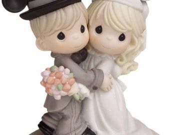 Precious Moments, Disney Showcase Collection, Magically Ever After Wedding Cake Topper Bisque Porcelain Figurine,