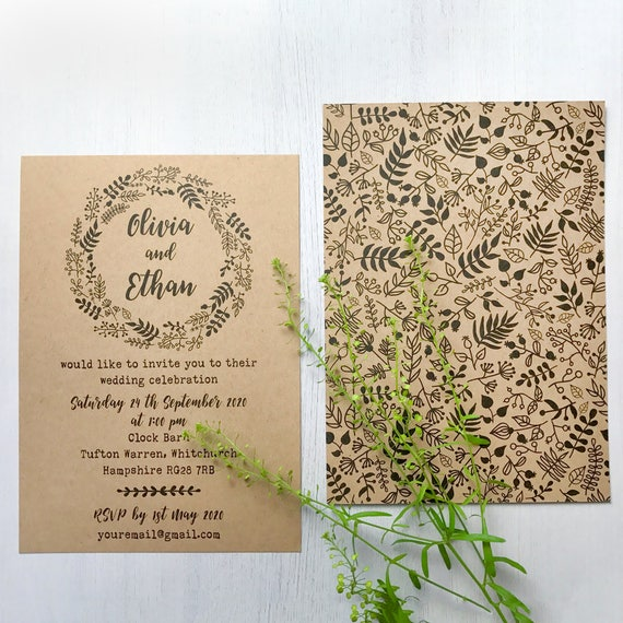 Wedding invitations online, Wedding invitation rustic set, Kraft wedding invite suite, Wedding cards suite, Invitations recycled paper , A6