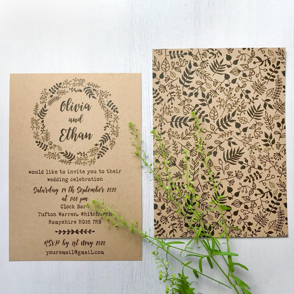 Wedding invitations online, Wedding invitation rustic set, Kraft ...