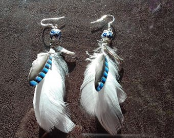 Earrings feathers Jay - mother's day - jewelry natural feather and bead porcelain - angelic - cocooning - women gift