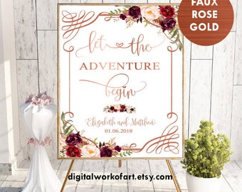 Rose Gold Let the Adventure Begin, Welcome Wedding Sign,Printable Welcome Sign, Custom Welcome Sign,Floral, Boho Chic Wedding, digital,#LC