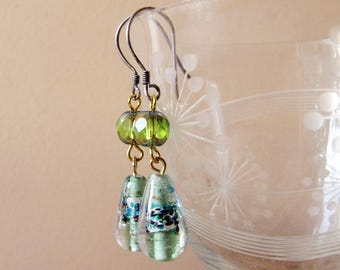 foil lampwork drop earrings in green and silver with rare scarabee Czech glass - 925 hooks - vintage bead jewelry