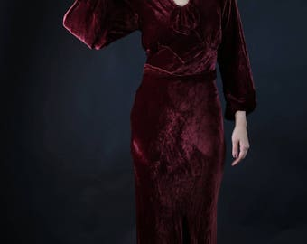 1930s silk velvet burgundy plum evening dress with matching belt size S/M -