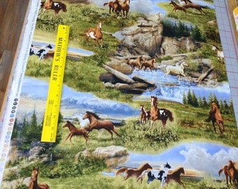Running Wild-Horses Cotton Fabric from Quilting Treasures