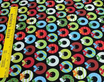 JIngle-Wreaths Cotton Fabric by Anne Kelle for Robert Kaufman Fabrics