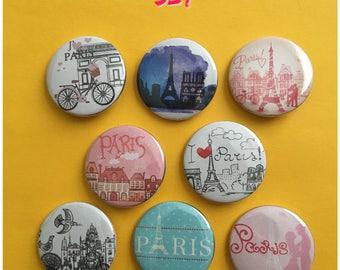 Paris Pin 1.5 Pinback Button Travel Gift Eiffel Tower