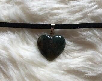 Moss Agate Heart Choker, Crystal Choker, Gemstone Choker Necklace, Moss Agate Necklace