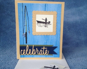 Happy Birthday Fisherman Card, Fishing, Fish, All Occasion Card, Celebration Card