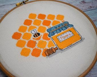 Modern cross stitch pattern bee cross stitch pattern honey cross stitch pattern pdf food cross stitch pattern honeycomb cross stitch pattern