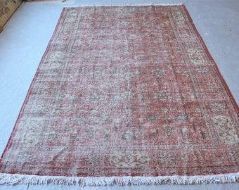 6'1''x10'2'' Turkish Hereke Rug, Vintage Distressed Rug, Faded Anatolian Rug