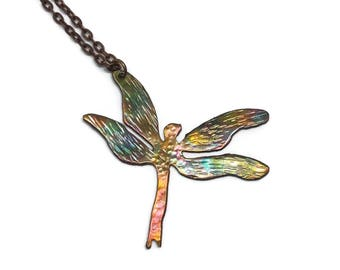 Dragonfly necklace-  copper dragonfly- copper jewelry- dragonfly jewelry- rainbow patina- dragonfly pendant- flame painted- one of a kind